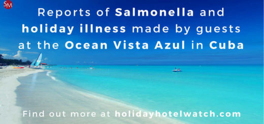 Reports of Salmonella and holiday illness made by guests at the Ocean Vista Azul in Cuba